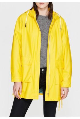 Mavi Kadın Kapüşonlu Sarı Ceket