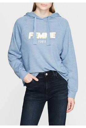 Mavi Kadın Femme Baskılı Mavi Kapüşonlu Sweatshirt
