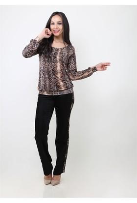 Dodona 4125 Yanları Şeritli Siyah Kadın Pantolon
