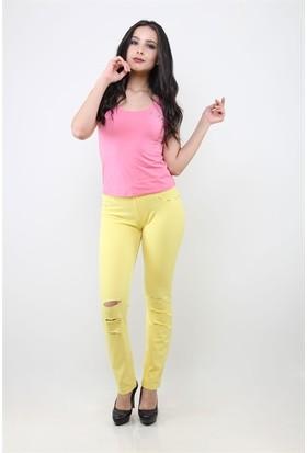 Dodona 1049 Swarovski Taşlı Yırtık Kadın Pantolon Sarı