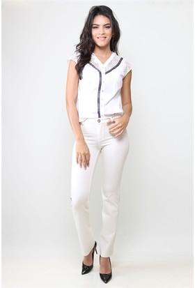 Dodona 3332 Özel Tasarım Beyaz Kadın Pantolon