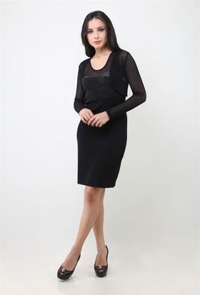 Dodora 3216 Siyah Taşlı Elbise