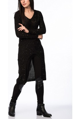 Obirtrend 2875 - Siyah Triko Kadın Uzun Tunik