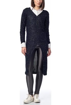 Obirtrend 2877 - Lacivert Triko Kadın Uzun Tunik