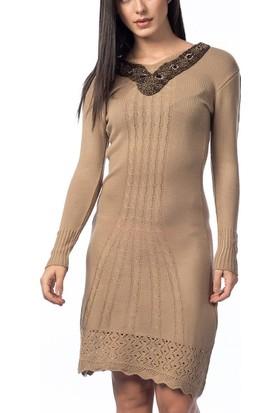 Obirtrend 2880 - Vizon Boncuklu V Yaka Triko Uzun Kadın Elbise