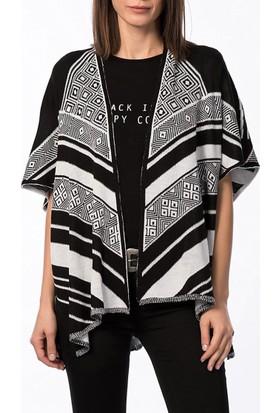 Obirtrend 2906 - Siyah Beyaz Desenli Triko Kadın Hırka