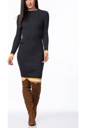 Obirtrend 2946 - Kenar Desenli Dar Triko Kadın Elbise