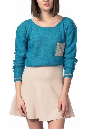 Obirtrend 2970 - Mavi Gold Detaylı Triko Kadın Kazak