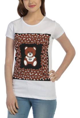 Obirtrend 3010 - Beyaz Kadın Ayıcık Desenli Baskılı Tshirt