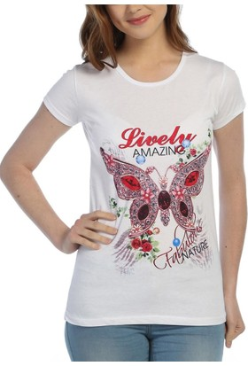 Obirtrend 3018 - Beyaz Kadın Kelebek Desenli Baskılı Tshirt