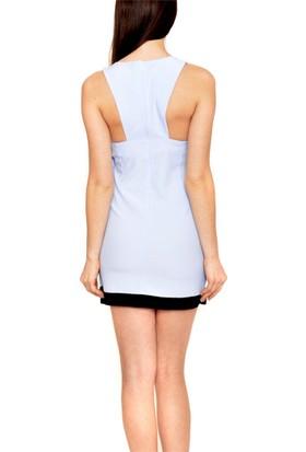 Obirtrend 3030 - Mavi Siyah Detaylı Kadın Elbise