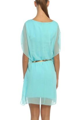 Obirtrend 3042 - Mint Tül Detaylı Bel Kemerli Kadın Elbise