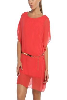 Obirtrend 3043 - Narçiçeği Tül Detaylı Bel Kemerli Kadın Elbise