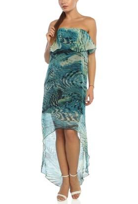 Obirtrend 3046 - Mint Tül Detaylı Ve Desenli Kadın Elbise