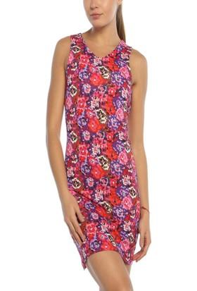 Obirtrend 3047 - Fuşya Çiçek Desenli Kadın Elbise