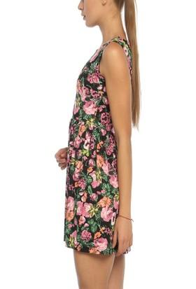 Obirtrend 3049 - Siyah Pembe Çiçek Desenli Kadın Elbise