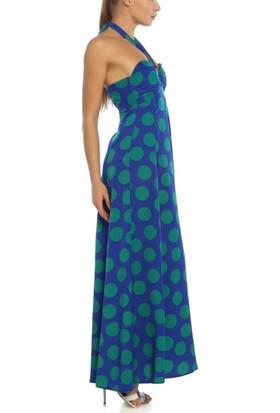 Obirtrend 3055 - Yeşil Mavi Ip Askılı Puantiye Desenli Elbise