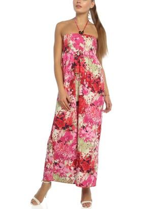 Obirtrend 3059 - Pembe Ip Askılı Çiçek Desenli Uzun Elbise