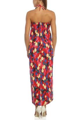 Obirtrend 3062 - Renkli Ip Askılı Uzun Elbise