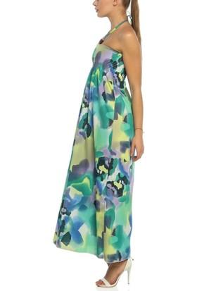 Obirtrend 3071 - Yeşil Ip Askılı Uzun Elbise