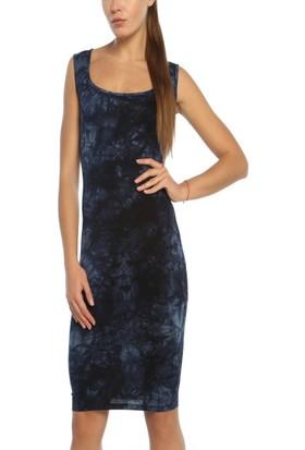 Obirtrend 3079 - Lacivert Batik Desenli Kısa Elbise