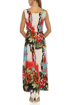 Obirtrend 3081 - Kırmızı Beyaz Çiçek Desenli Uzun Elbise