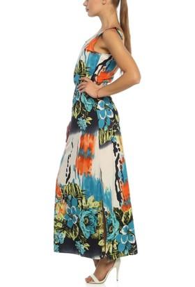 Obirtrend 3082 - Mavi Kadın Papatya Desenli Uzun Elbise