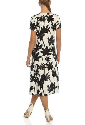 Obirtrend 3083 - Siyah Palmiye Desenli Uzun Elbise