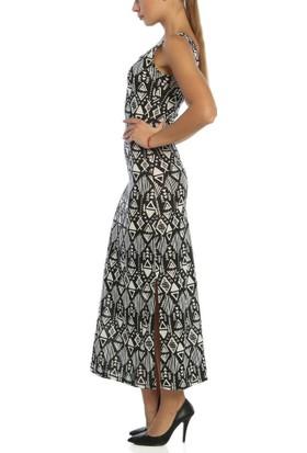 Obirtrend 3089 - Siyah Aztek Desenli Uzun Elbise