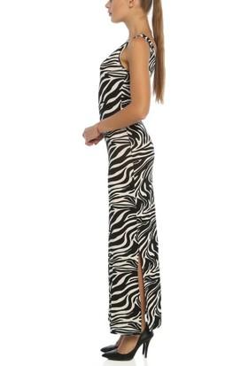 Obirtrend 3090 - Siyah Zebra Desenli Çift Taraflı Yırtmaçlı Uzun Elbise