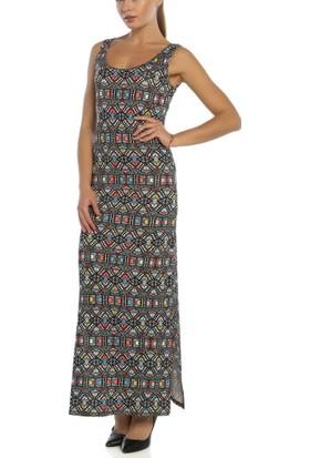 Obirtrend 3094 - Renkli Geometrik Çift Taraflı Yırtmaçlı Uzun Elbise
