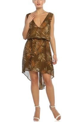 Obirtrend 3095 - Palmiye Desenli Dekolteki V Yaka Elbise
