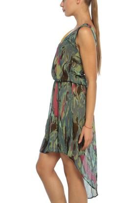 Obirtrend 3097 - Renkli Dekolteli V Yaka Elbise