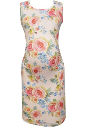 Luvmabelly 5001 Çiçekli Hamile Elbise