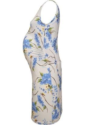 Luvmabelly 5002 Çiçekli Hamile Elbise