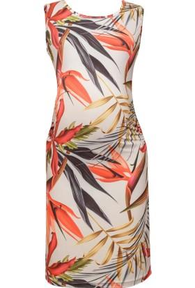 Luvmabelly 5004 Çiçekli Hamile Elbise