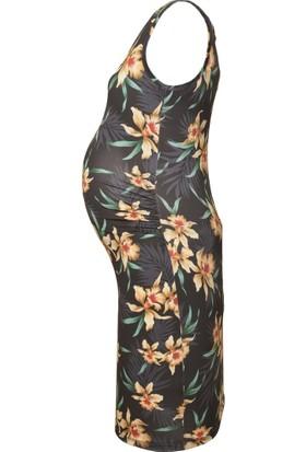 Luvmabelly 5006 Çiçekli Hamile Elbise