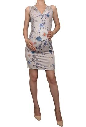 Luvmabelly 5507 Çiçekli Lohusa Emzirme Elbise