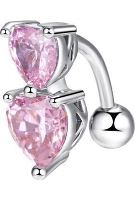 Chavin Çift Pembe Kalp Taşlı Göbek Piercing Dt86Pm