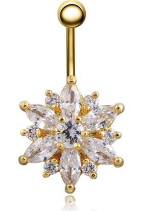 Chavin Gold Çiçek Taşlı Çelik Göbek Piercing Dp48Sr