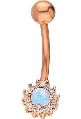 Chavin Mavi Opal Taşlı Göbek Piercing Dt89Mv