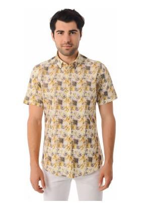 Html Sarı Erkek Baskılı Gömlek