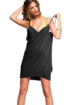 Mite Love Kadın Plaj Elbisesi Siyah Kısa Pareo