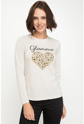 Defacto J9719Az18 Uzun Kollu Kalp Baskılı T-Shirt