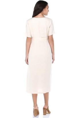 B&S Line Kadın Düğmeli Bej Rengi Keten Elbise