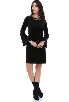 66ec76f6ed916 ... B&S Line Kadın Kadife Yakası Taşlı Siyah Elbise ...
