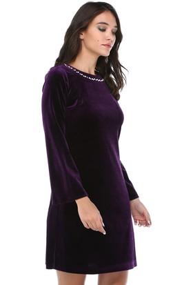 B&S Line Kadın Kadife Yakası Taşlı Mor Elbise