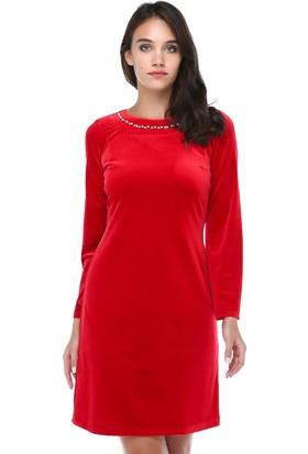 0f357937c6959 B&S Line Kadın Kadife Yakası Taşlı Kırmızı Elbise ...