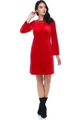 c94a03b75f607 ... B&S Line Kadın Kadife Yakası Taşlı Kırmızı Elbise ...