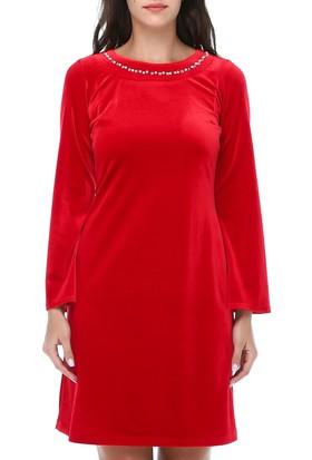 318572665dada ... B&S Line Kadın Kadife Yakası Taşlı Kırmızı Elbise